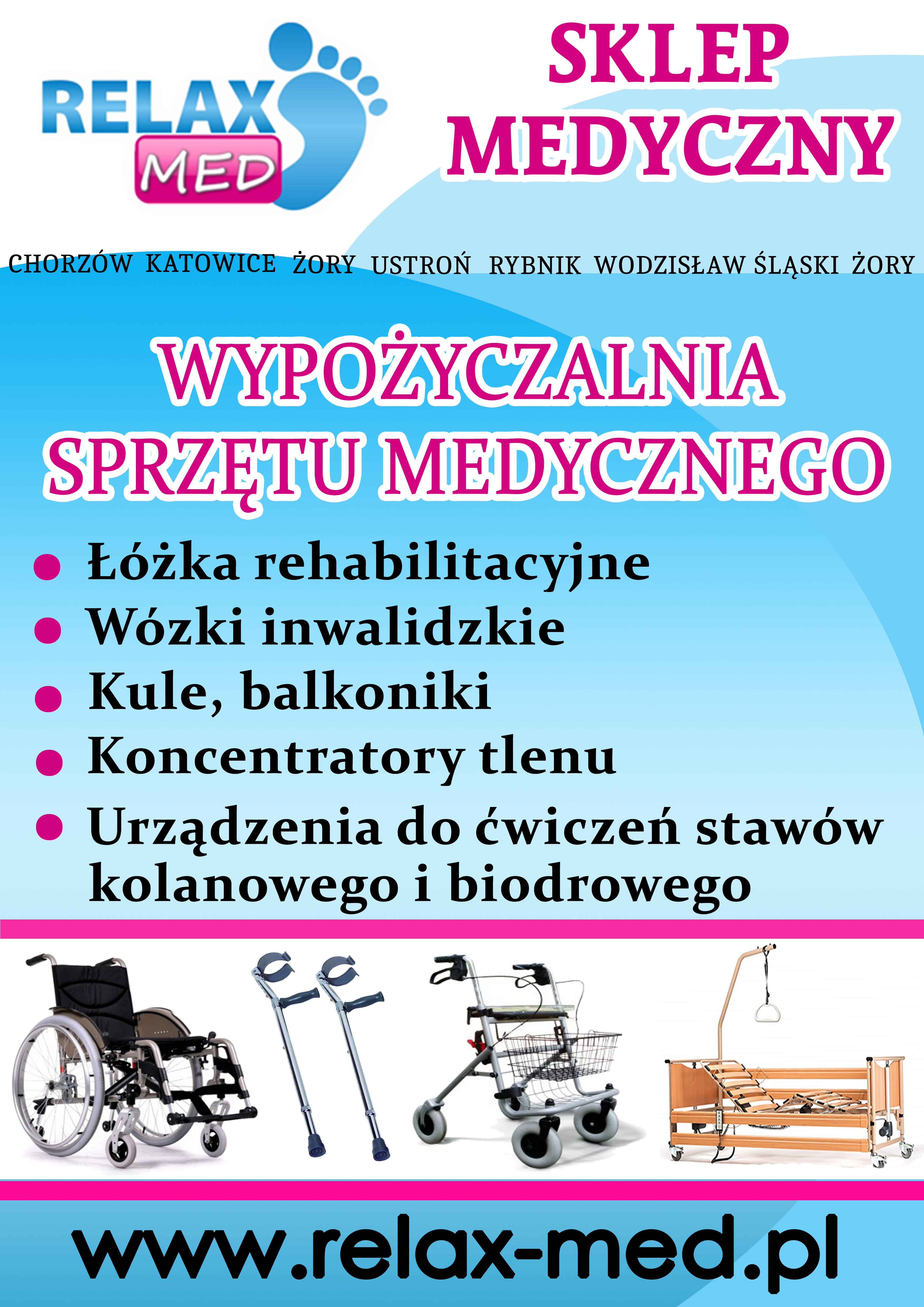 Wypożyczalnia łóżka rehabilitacyjnego, wózki inwalidzkie, kule i balkoniki, koncentrator tlenu