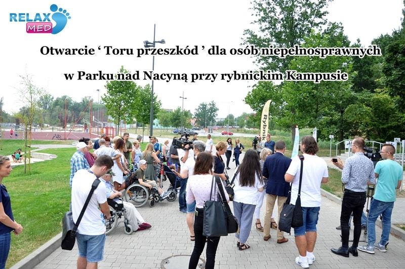 Otwarcie 'Toru przeszkód' dla niepełnosprawnych w Parku Tematycznym nad Nacyną